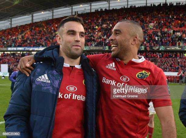 Limerick Ireland 20 May 2017 Conor Murray left and Simon Zebo of Munster celebrate after the Guinness PRO12 semifinal between Munster and Ospreys at...