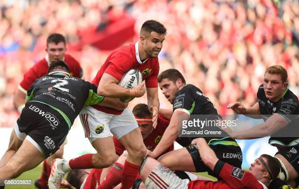 Limerick Ireland 20 May 2017 Conor Murray of Munster is tackled by Scott Baldwin of Ospreys during the Guinness PRO12 semifinal between Munster and...