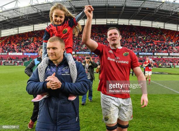 Limerick Ireland 20 May 2017 Keith Earls left and his daughter Ella May with Donnacha Ryan of Munster after the Guinness PRO12 semifinal match...
