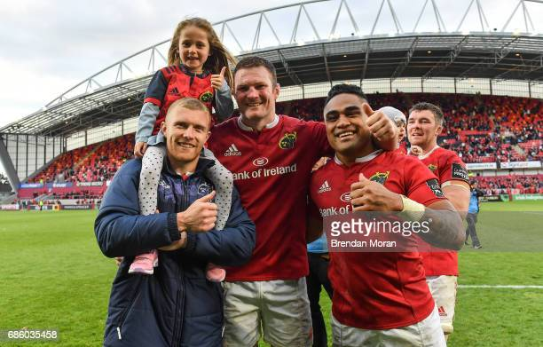Limerick Ireland 20 May 2017 Keith Earls left of Munster with his daughter Ella May Donnacha Ryan Francis Saili after the Guinness PRO12 semifinal...