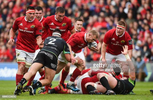 Limerick Ireland 20 May 2017 Keith Earls of Munster is tackled by Scott Baldwin of Ospreys during the Guinness PRO12 semifinal between Munster and...