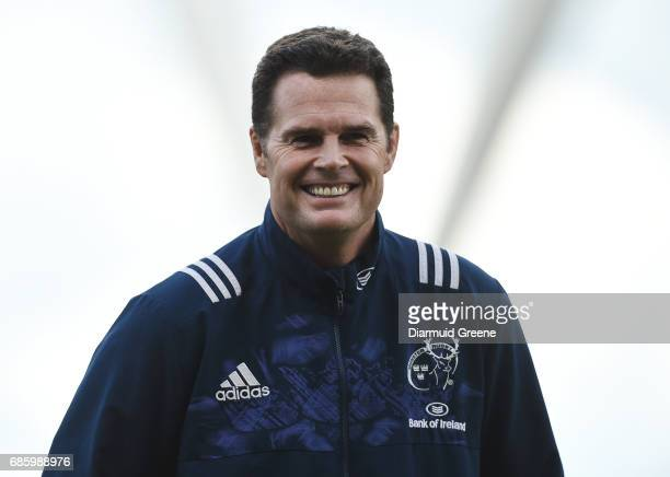 Limerick Ireland 20 May 2017 Munster director of rugby Rassie Erasmus ahead of the Guinness PRO12 semifinal between Munster and Ospreys at Thomond...