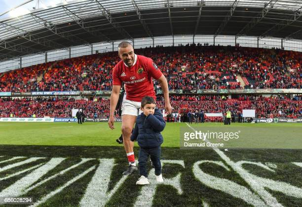 Limerick Ireland 20 May 2017 Simon Zebo of Munster with his son Jacob after the Guinness PRO12 semifinal between Munster and Ospreys at Thomond Park...