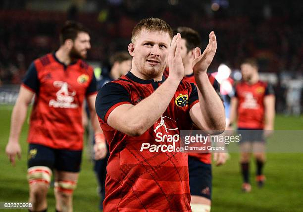 Limerick Ireland 21 January 2017 John Ryan of Munster applauds supporters the European Rugby Champions Cup Pool 1 Round 6 match between Munster and...