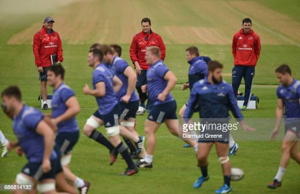 Limerick Ireland 22 May 2017 Munster defence coach Jacques Nienaber director of rugby Rassie Erasmus and technical coach Felix Jones during Munster...