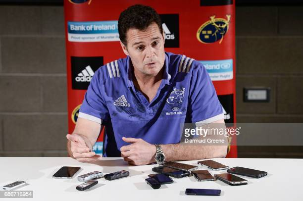 Limerick Ireland 22 May 2017 Munster director of rugby Rassie Erasmus during a Munster Rugby press conference at the University of Limerick in...