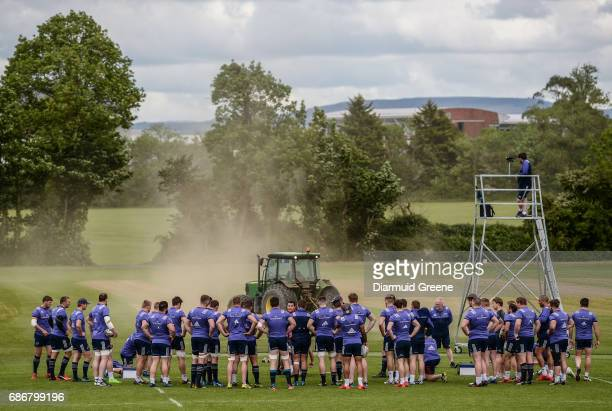 Limerick Ireland 22 May 2017 Munster director of rugby Rassie Erasmus speaks to his players during Munster Rugby squad training at the University of...