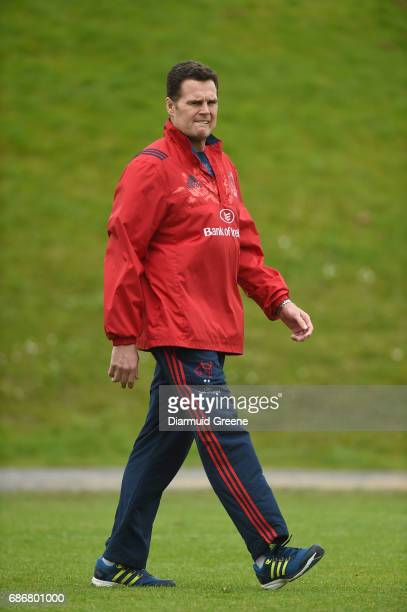 Limerick Ireland 22 May 2017 Munster of rugby Rassie Erasmus during Munster Rugby squad training at the University of Limerick in Limerick