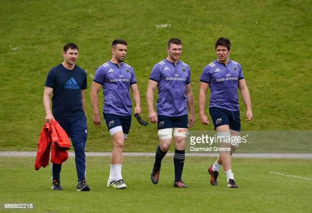 Limerick Ireland 22 May 2017 Munster technical coach Felix Jones along with players Conor Murray Peter O'Mahony and Billy Holland make their way out...