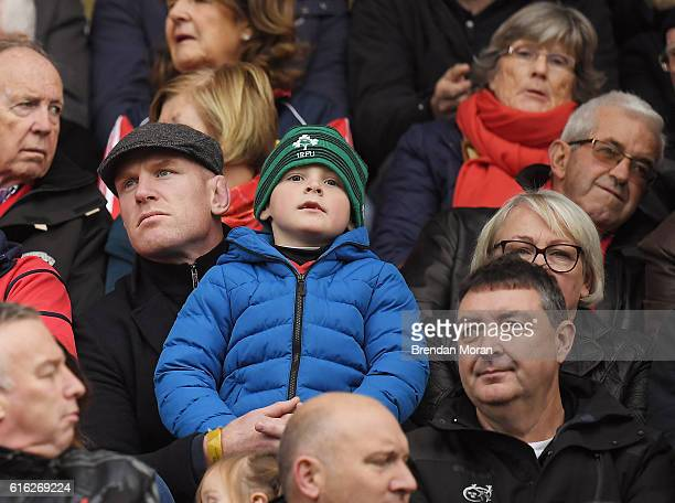 Limerick Ireland 22 October 2016 Former Munster and Ireland player Paul O'Connell left centre with his son Paddy ahead the European Rugby Champions...