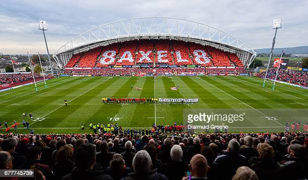 Limerick Ireland 22 October 2016 Munster and Glasgow Warriors players observe a minutes silence in memory of the late Munster Rugby head coach...