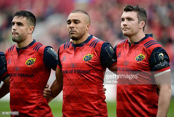 Limerick Ireland 22 October 2016 Munster players Conor Murray left Simon Zebo centre and captain Peter O'Mahony of Munster observe a minute's silence...