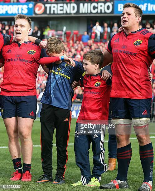 Limerick Ireland 22 October 2016 The sons of the late Munster Rugby head coach Anthony Foley Tony and Dan along with Munster players Rory Scannell...