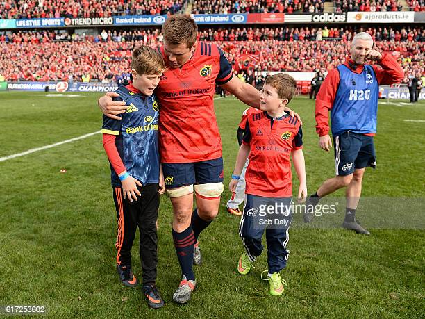 Limerick Ireland 22 October 2016 The sons of the late Munster Rugby head coach Anthony Foley Tony left and Dan join CJ Stander and the rest of the...
