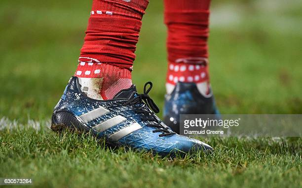 Limerick Ireland 26 December 2016 A detailed view of a tribute to the late Anthony Foley on the boots of Simon Zebo of Munster during the Guinness...