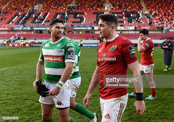 Limerick Ireland 26 November 2016 Ronan O'Mahony of Munster with Ian McKinley of Benetton Treviso after the Guinness PRO12 Round 9 match between...