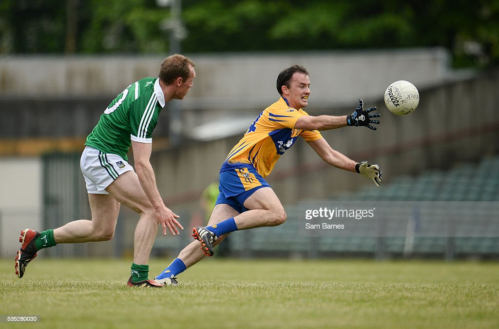 Limerick , Ireland - 29 May 2016; David Tubridy of Clare in action against Garrett Noonan of Limerick during the Munster GAA Football Senior Championship quarter-final between Limerick and Clare at Gaelic Grounds in Limerick.