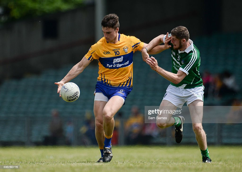 Limerick , Ireland - 29 May 2016; Jamie Malone of Clare in action against Brian Fanning of Limerick during the Munster GAA Football Senior Championship quarter-final between Limerick and Clare at Gaelic Grounds in Limerick.