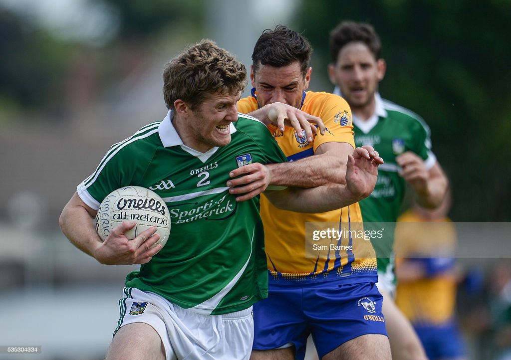 Limerick , Ireland - 29 May 2016; Johnny McCarthy of Limerick in action against Dean Ryan of Clare during the Munster GAA Football Senior Championship quarter-final between Limerick and Clare at Gaelic Grounds in Limerick.