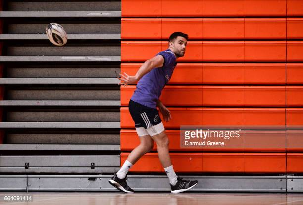 Limerick Ireland 3 April 2017 Conor Murray of Munster during squad training at the University of Limerick Arena in Limerick