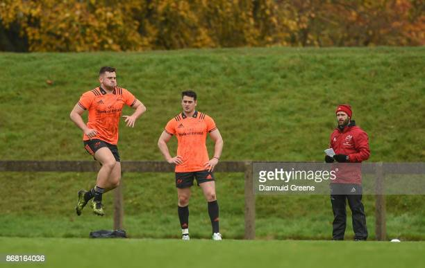 Limerick Ireland 30 October 2017 Conor Oliver and Ronan O'Mahony of Munster train separate from teammates with strength and conditioning coach PJ...