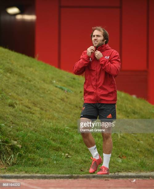 Limerick Ireland 30 October 2017 Duncan Williams of Munster make his way out for Munster Rugby Squad Training at the University of Limerick in...