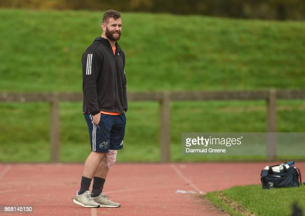 Limerick Ireland 30 October 2017 Jaco Taute of Munster sits out Munster Rugby Squad Training at the University of Limerick in Limerick