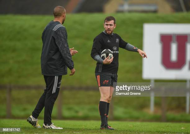 Limerick Ireland 30 October 2017 JJ Hanrahan and Simon Zebo of Munster in conversation during Munster Rugby Squad Training at the University of...