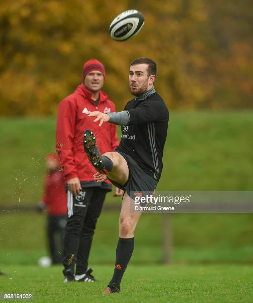 Limerick Ireland 30 October 2017 JJ Hanrahan of Munster watched by defence coach Jacques Nienaber during Munster Rugby Squad Training at the...