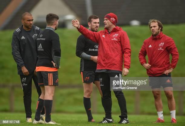 Limerick Ireland 30 October 2017 Munster defence coach Jacques Nienaber speaks to Simon Zebo Bill Johnston JJ Hanrahan and Duncan Williams during...