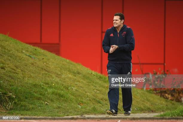 Limerick Ireland 30 October 2017 Munster director of rugby Rassie Erasmus makes his way out for Munster Rugby Squad Training at the University of...