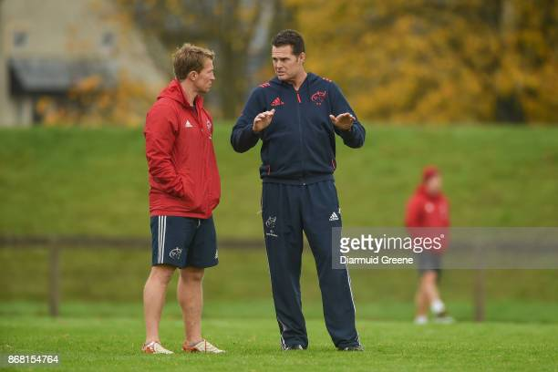 Limerick Ireland 30 October 2017 Munster scrum coach Jerry Flannery and Munster director of rugby Rassie Erasmus in conversation during Munster Rugby...