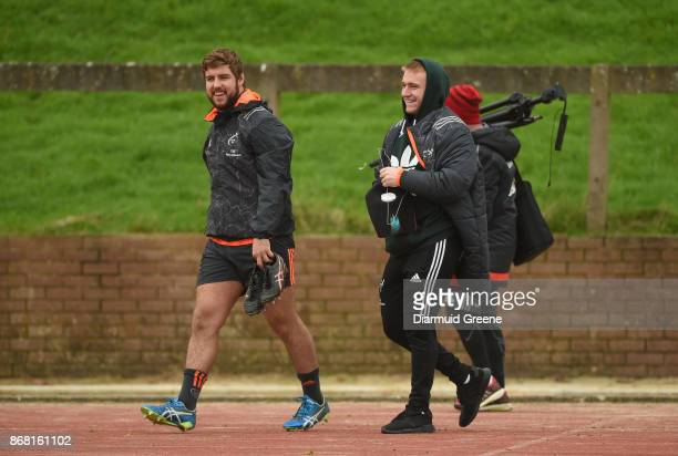 Limerick Ireland 30 October 2017 Rhys Marshall and Rory Scannell Munster make their way out for Munster Rugby Squad Training at the University of...