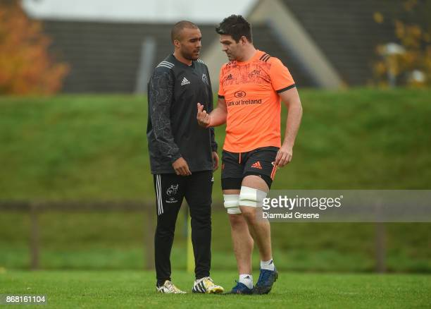 Limerick Ireland 30 October 2017 Simon Zebo and Billy Holland of Munster in conversation during Munster Rugby Squad Training at the University of...