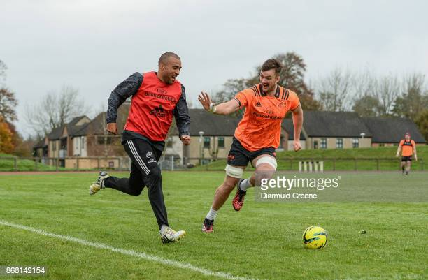 Limerick Ireland 30 October 2017 Simon Zebo and Sean McCarthy of Munster playing soccer during Munster Rugby Squad Training at the University of...