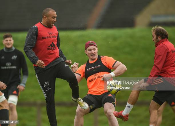 Limerick Ireland 30 October 2017 Simon Zebo Chris Cloete and Duncan Williams of Munster play soccer during Munster Rugby Squad Training at the...