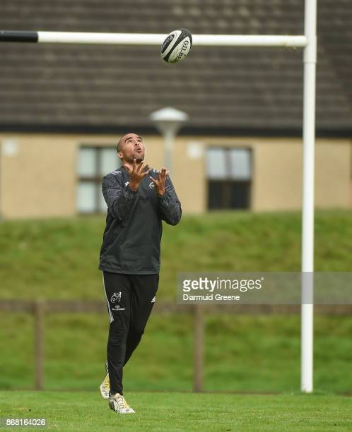Limerick Ireland 30 October 2017 Simon Zebo of Munster during Munster Rugby Squad Training at the University of Limerick in Limerick