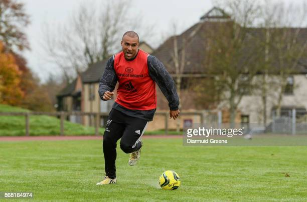 Limerick Ireland 30 October 2017 Simon Zebo of Munster plays soccer during Munster Rugby Squad Training at the University of Limerick in Limerick