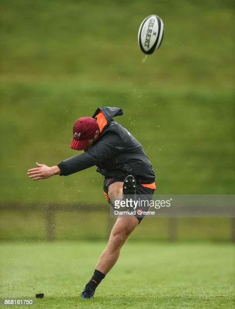 Limerick Ireland 30 October 2017 Tyler Bleyendaal of Munster practices his place kicking during Munster Rugby Squad Training at the University of...