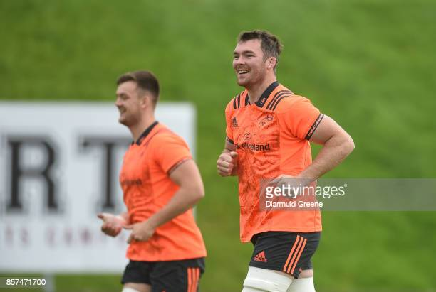 Limerick Ireland 4 October 2017 Peter O'Mahony of Munster during Munster Rugby Squad Training at the University of Limerick in Limerick