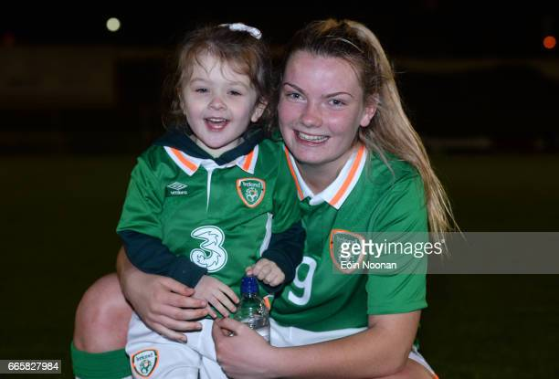 Limerick Ireland 6 April 2017 Saoirse Noonan of Republic of Ireland with her cousin and mascot for the game Searlaíth O'Callaghan during the UEFA...