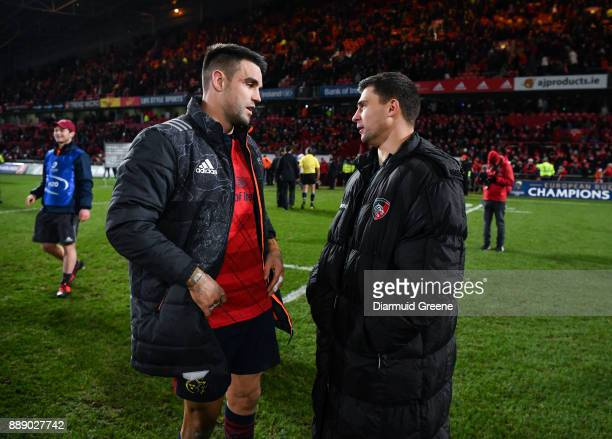Limerick Ireland 9 December 2017 Conor Murray of Munster and Ben Youngs of Leicester Tigers in conversation after the European Rugby Champions Cup...