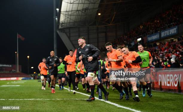 Limerick Ireland 9 December 2017 Munster captain Peter O'Mahony leads his team into the dressing room prior to the European Rugby Champions Cup Pool...