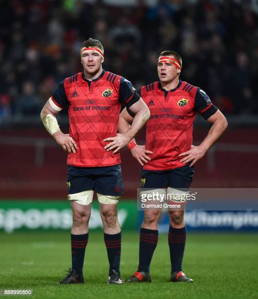 Limerick Ireland 9 December 2017 Peter O'Mahony left and CJ Stander of Munster during the European Rugby Champions Cup Pool 4 Round 3 match between...