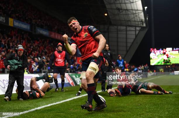 Limerick Ireland 9 December 2017 Peter O'Mahony of Munster celebrates after scoring his side's third try during the European Rugby Champions Cup Pool...