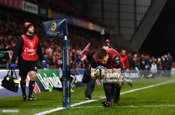 Limerick Ireland 9 December 2017 Peter O'Mahony of Munster goes over to score his side's third try during the European Rugby Champions Cup Pool 4...