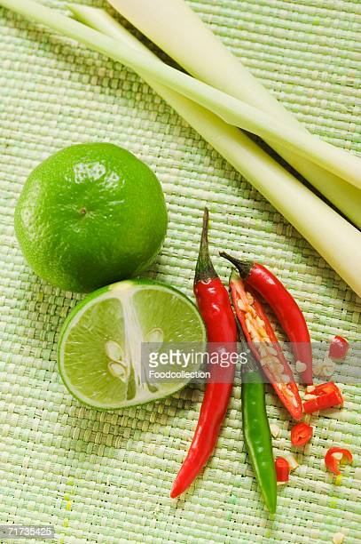 Limes, chili peppers and lemon grass