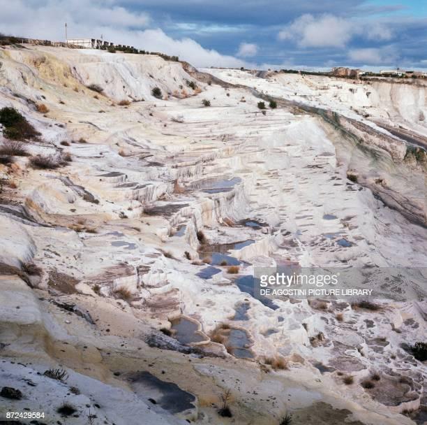 Limestone and travertine layers that form the Pamukkale thermal pools Southwestern Turkey