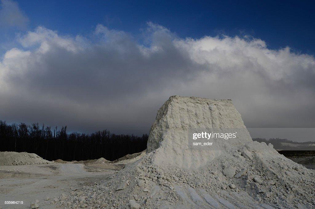 limestone break and white clouds : Stock Photo