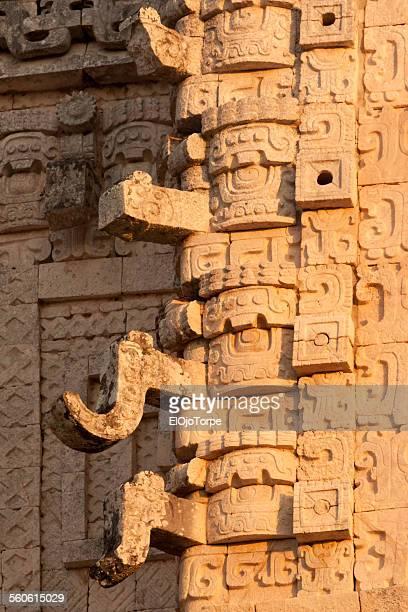 Limestone carvings in Uxmal, Yucatan, Mexico